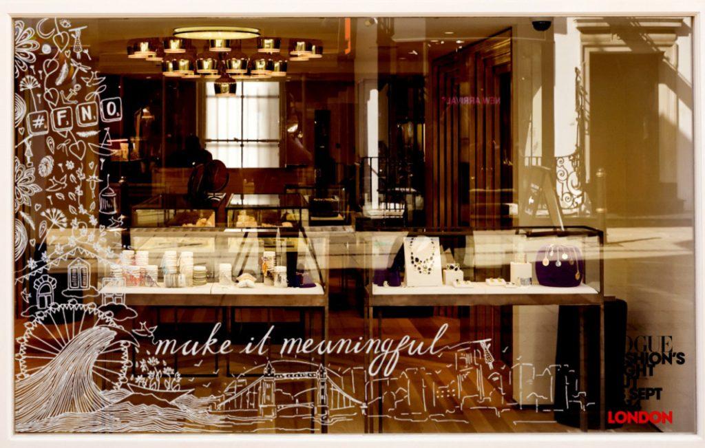 Vogue and Monica Vinader window Installation by Charlotte Edey