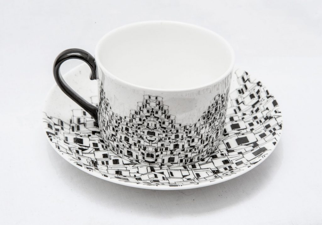 Favelas Illustrated Ceramic Tea Set by Charlotte Edey