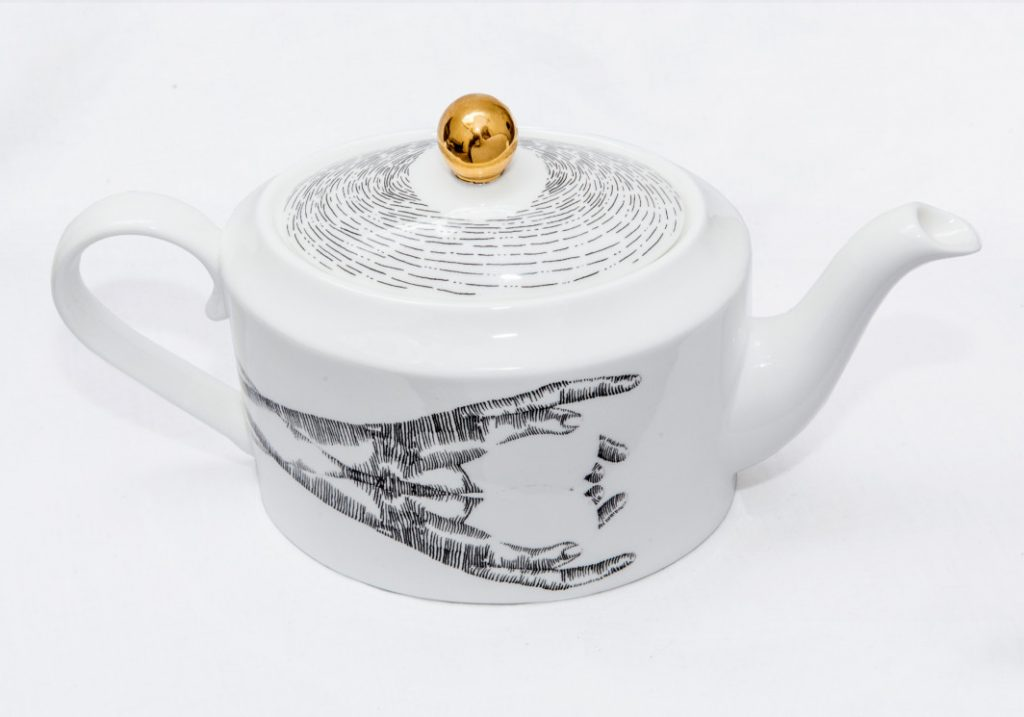 The Teapot - ceramic teapot, illustrated by Charlotte Edey